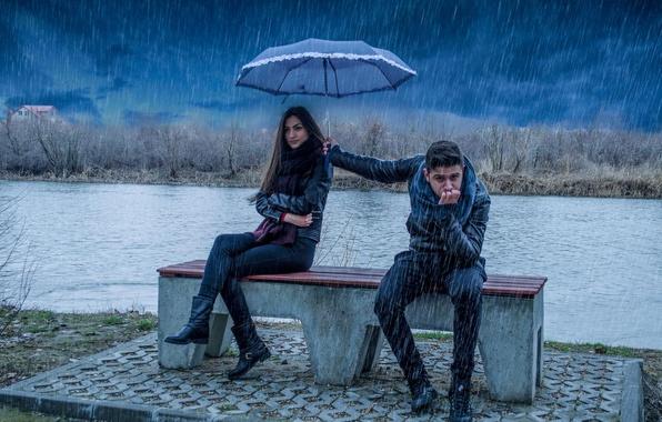 Картинка девушка, дождь, зонт, парень, это любовь