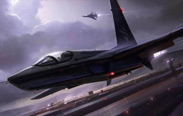 Картинка гроза, облака, ночь, огни, самолет, полоса, истребитель, аэродром, взлет
