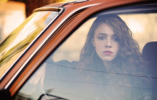 Картинка car, lifestyle, window, redhead, reflection, Autumn Day