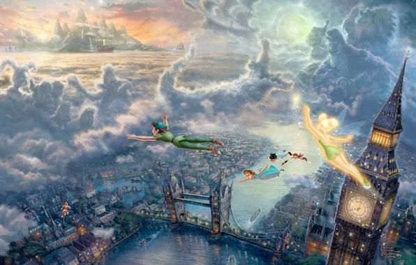 Картинка море, облака, закат, мост, дети, город, огни, замок, часы, Лондон, сказка, корабли, фея, арт, полёт, ...