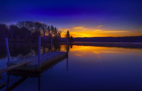 Картинка лес, озеро, рассвет, утро, мостик
