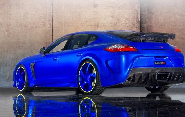 Картинка car, авто, Porsche, Panamera, порше, blue, tuning, Turbo, задок, Mansory