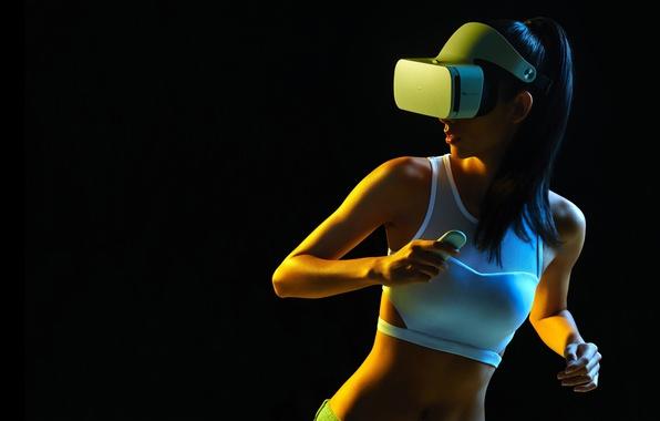 Фото обои белая, Mi VR Headset, очки, черный фон, девушка, брюнетка, прическа, майка, фигура