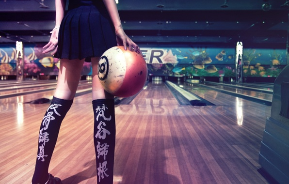 Картинка девушка, спорт, боулинг