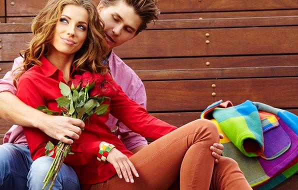 Картинка взгляд, девушка, цветы, улыбка, шатенка, парень, яркость