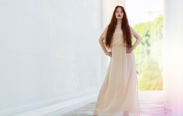 Картинка лето, взгляд, девушка, фон, модель, волосы, платье