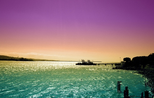 Картинка море, небо, закат, корабль