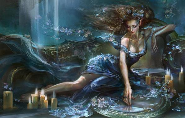 Картинка вода, девушка, цветы, свечи, зеркало, арт, rong rong