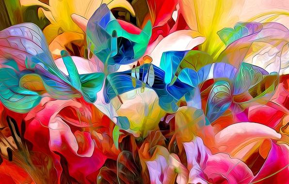 Картинка листья, линии, цветы, краски, лепестки, сад, клумба