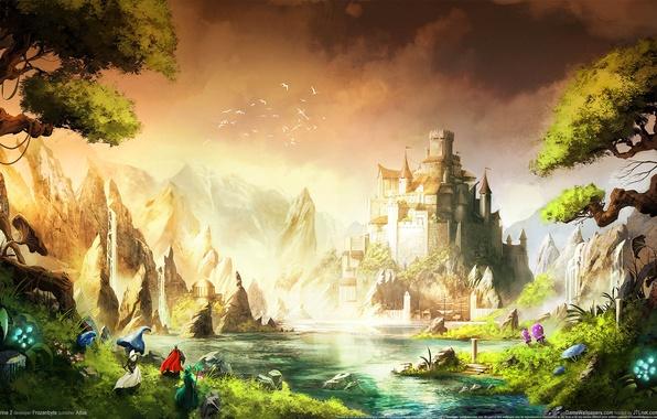 Картинка пейзаж, горы, птицы, река, люди, замок, водопад, крепость, trine 2