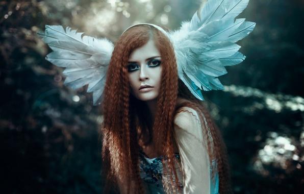Картинка девушка, волосы, портрет, перья, макияж, Bella Kotak