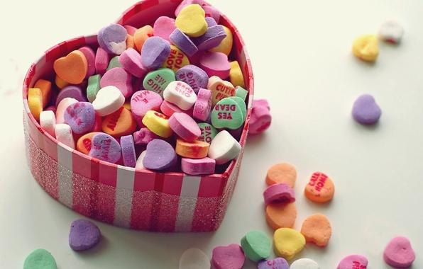 Картинка макро, любовь, коробка, сердце, сладость, сердечки, шкатулка, love, разноцветные, sweet