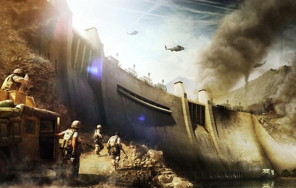 Картинка горы, оружие, война, дым, группа, хаммер, солдаты, бинокль, дамба, вертолёт, точка, парни, экипировка, вооружение, военные, …