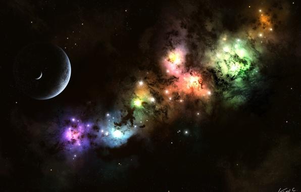 Картинка звезды, свет, луна, планета, nebula