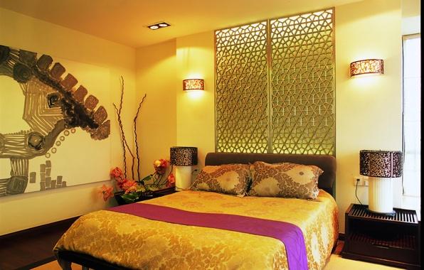 Картинка дизайн, лампы, комната, кровать, подушки, постель, спальня, светильники, бра