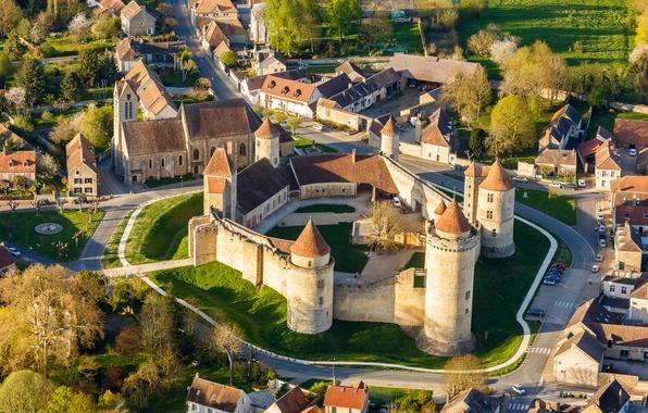 Картинка пейзаж, замок, стена, Франция, башня, дома, шато, Бленди-ле-Тур