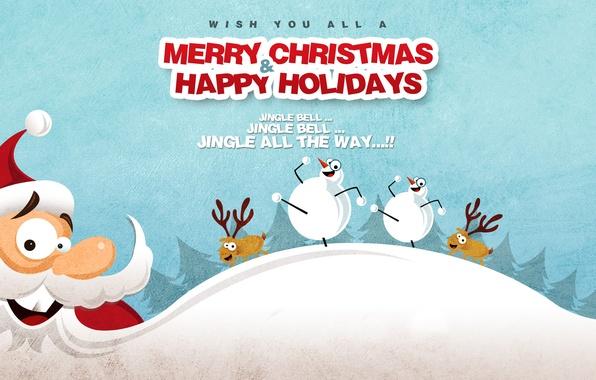 Картинка зима, снег, праздник, новый год, рождество, снеговик, борода, new year, санта клаус, олени, merry christmas, …