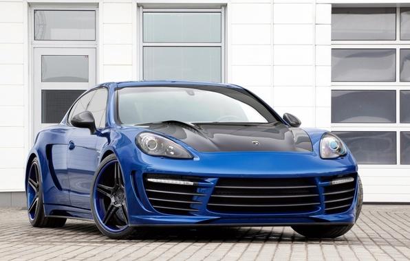 Картинка синий, тюнинг, окна, Porsche, Panamera, GTR, диски, Порше, tuning, передок, Stingray, TopCar, Панамера