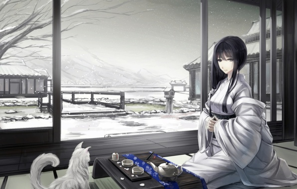 Картинка зима, кошка, девушка, снег, горы, дом, арт, чаепитие, кимоно, сидя, kikivi