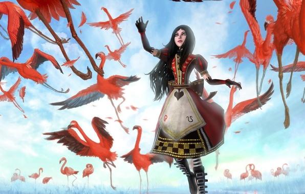 Картинка девушка, птицы, арт, Алиса, розовые, фламинго, Alice Madness Returns, phoenix-zhuzh
