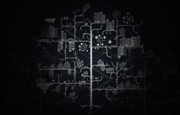 Картинка фон, чёрный, рисунок, дома, минимализм