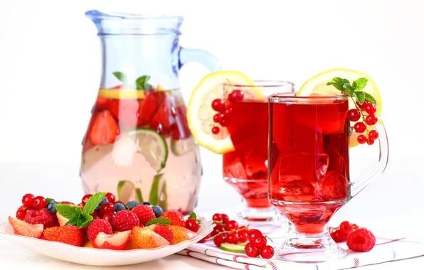 Картинка лед, ягоды, малина, лимон, черника, клубника, лайм, напиток, фрукты, смородина