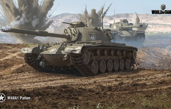 Картинка WoT, Мир танков, World of Tanks, Wargaming, M48A1 Patton, американский танк