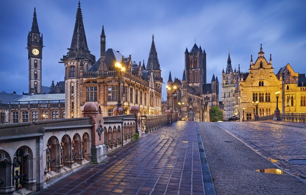 Картинка мост, здания, Бельгия, Belgium, Гент, Ghent