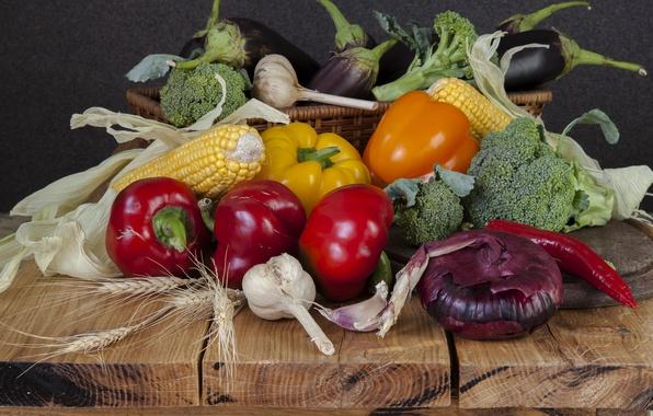 Картинка кукуруза, лук, баклажаны, перец, овощи, капуста, чеснок