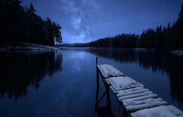 Картинка зима, лес, небо, звезды, снег, деревья, ночь, река, берег, причал