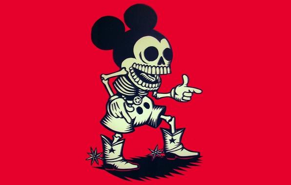 Картинка скелет, ковбой, Микки Маус