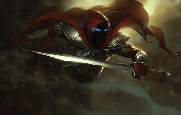 Картинка глаза, оружие, меч, воин, арт, капюшон, броня, плащ, доспех