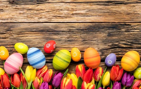 Картинка цветы, яйца, весна, colorful, Пасха, тюльпаны, wood, flowers, tulips, spring, Easter, eggs, decoration, Happy