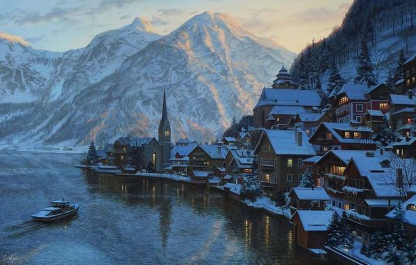 Картинка зима, снег, пейзаж, закат, горы, озеро, гора, дома, вечер, Австрия, ели, Альпы, катер, живопись, часовня, …