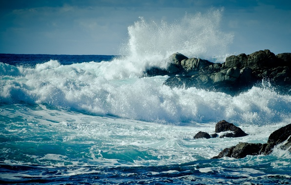 Картинка море, волны, пена, вода, капли, брызги, шторм, скала, океан, скалы, берег, пейзажи, волна, капля, california, ...