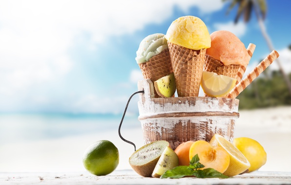 Картинка пляж, мороженое, фрукты, рожок, десерт, сладкое, sweet, fruits, dessert, ice cream, tropical