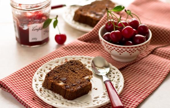 Картинка вишня, ягоды, тарелка, пирог, ложка, черешня, выпечка, джем, кекс