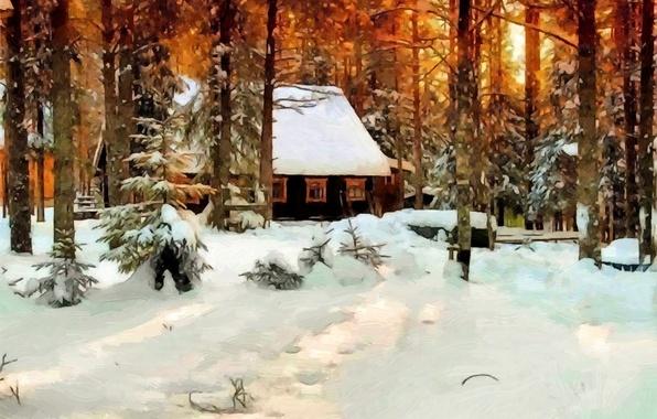 Картинка зима, лес, снег, деревья, дом, масло, картина, холст