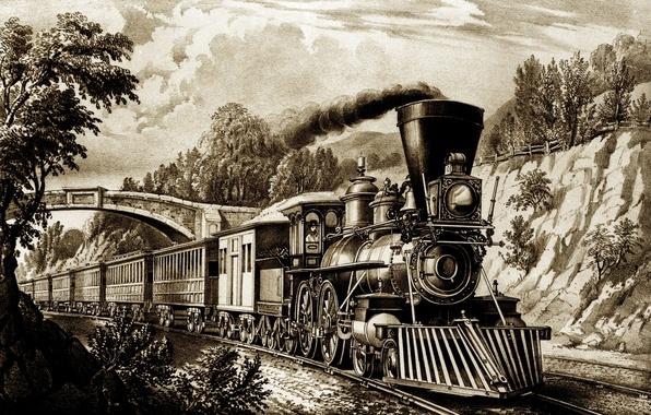 Картинка дорога, поезд, паровоз, картина, вагон, железная, история, retro, train