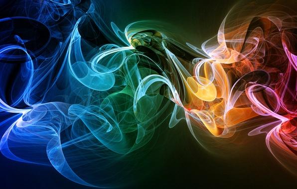 Картинка лучи, свет, линии, туман, дым, цвет
