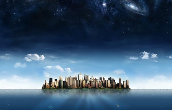 Картинка небо, звезды, облака, город, океан, остров, небоскребы, галактика