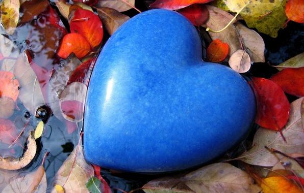 Картинка листья, вода, любовь, синий, настроение, голубой, камень, сердце, чувства, цвет, лужа, форма