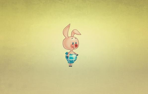 Картинка улыбка, минимализм, Винни-Пух, свинка, пятачок, Winnie-the-Pooh