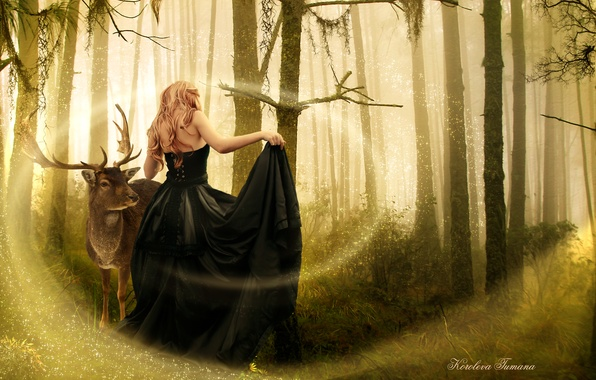 Картинка лес, девушка, деревья, животное, магия, спина, платье, черное, арт