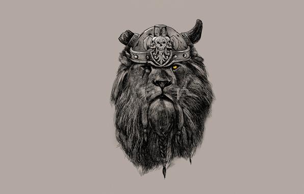 Картинка взгляд, лев, грива, рога, шлем, косы, викинг
