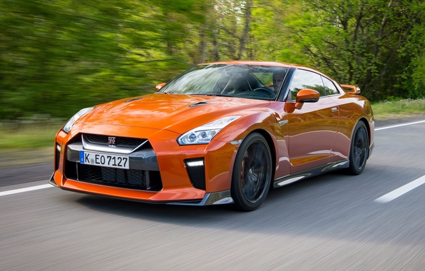 Картинка дорога, скорость, Nissan, GT-R, автомобиль, ниссан