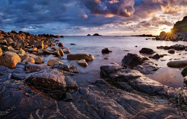 Картинка море, небо, солнце, облака, закат, берег, Англия, Michael Breitung