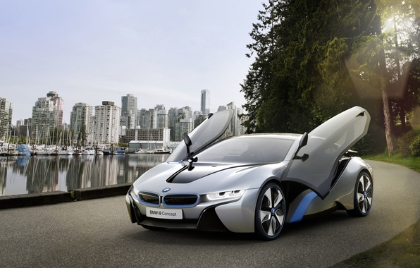 Картинка дорога, машина, вода, город, двери, BMW i8 concept