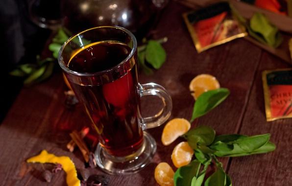 Картинка чай, завтрак, чаепитие, кружка, мандрин