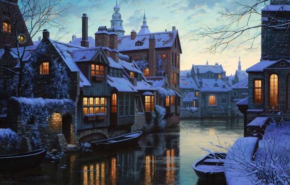 Картинка зима, снег, lights, река, дома, лодки, Бельгия, сумерки, живопись, twilight, river, winter, snow, houses, Belgium, …